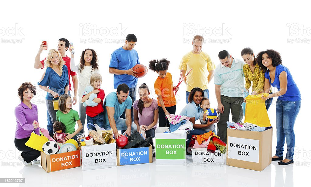 Happy people with donation boxes. stock photo
