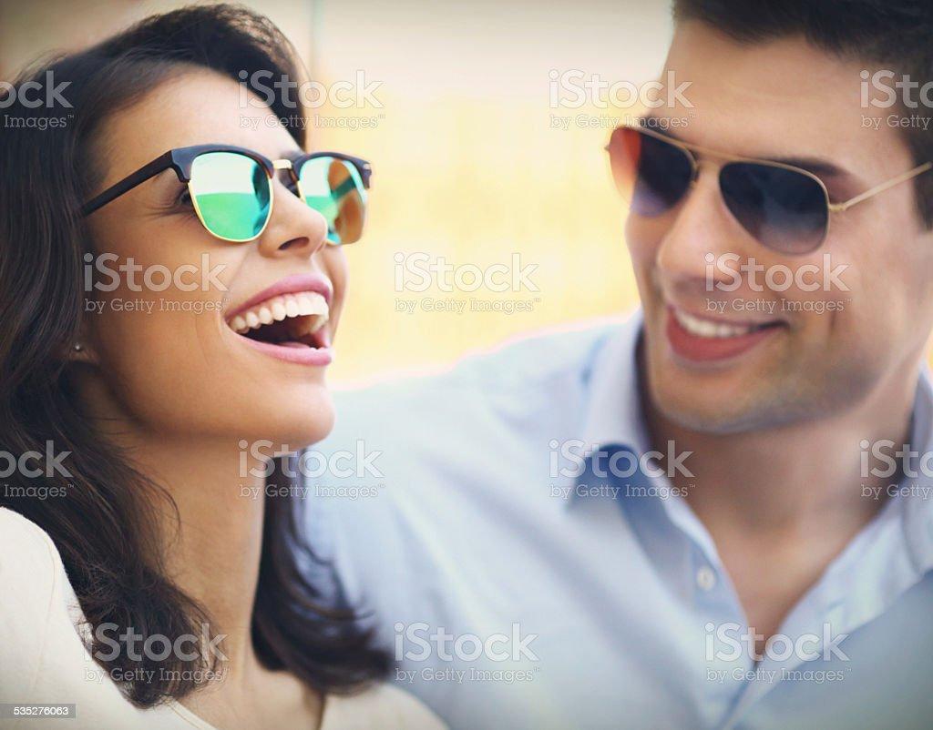 Happy people with sunglasses. stock photo