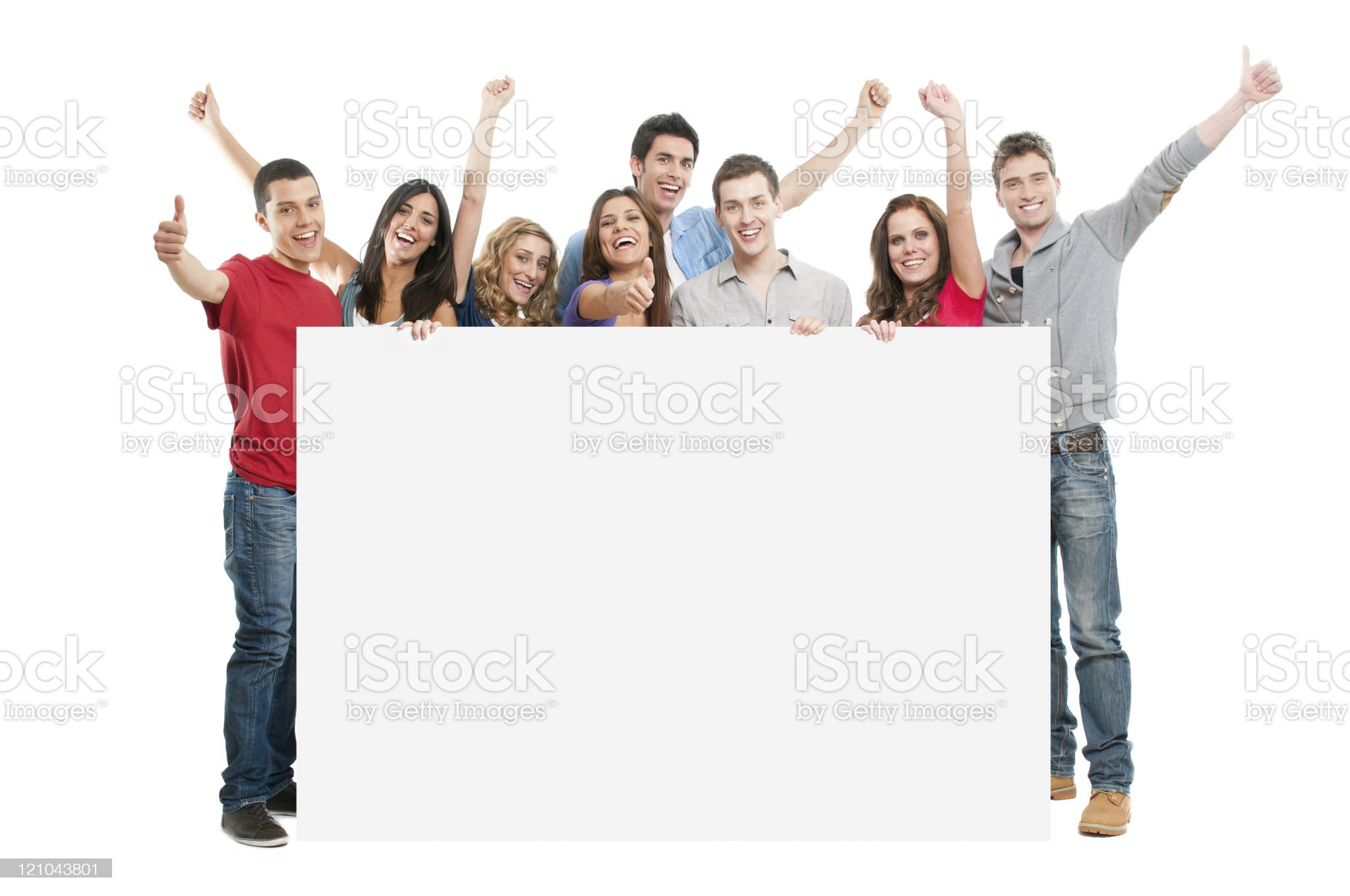 Happy people with white board royalty-free stock photo