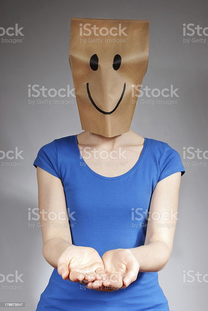 happy person holding up hands stock photo