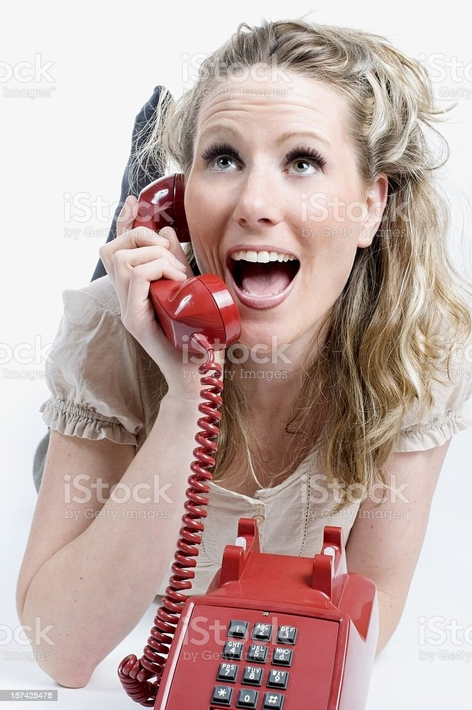 Happy Phone Call, Vintage Red stock photo