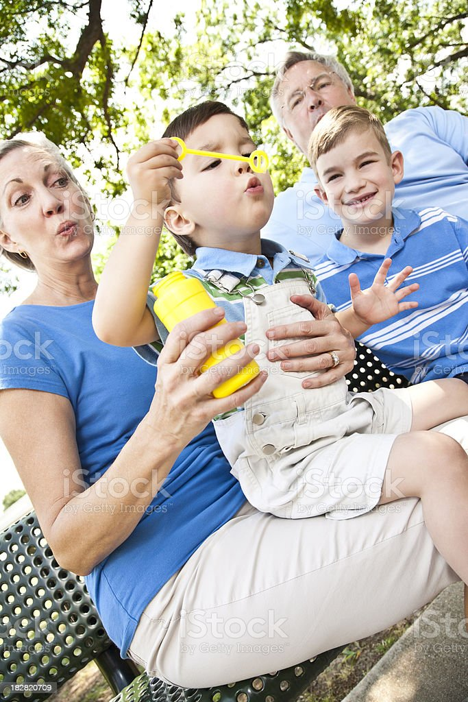 happy photo of grand parents and their grandchildren royalty-free stock photo
