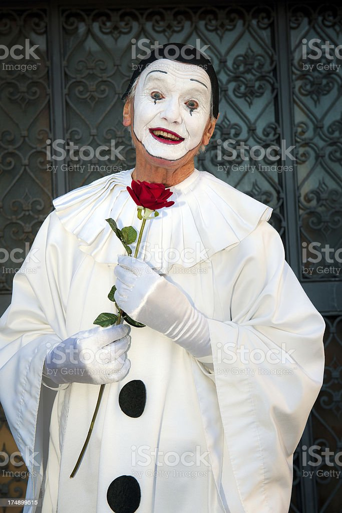 Happy Pierrot with Red Rose 2013 Carnival Venice Italy royalty-free stock photo