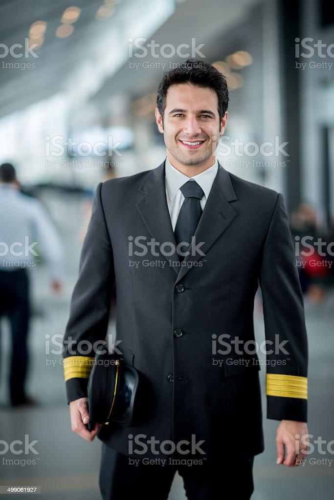Happy pilot stock photo
