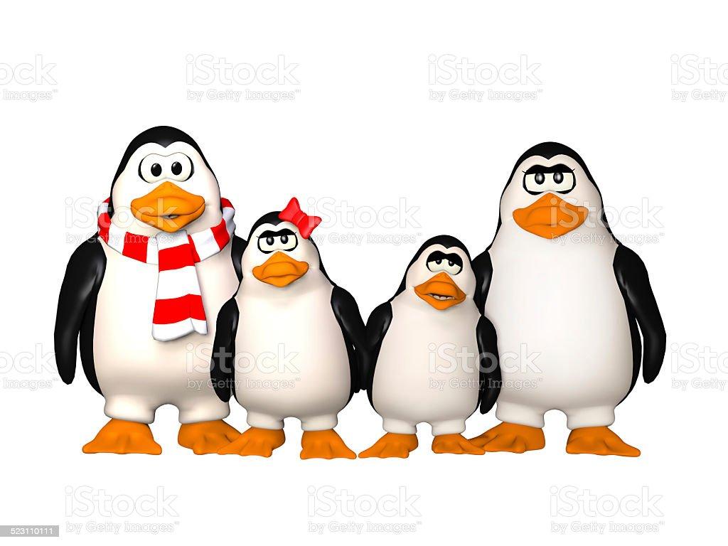happy pinguins family stock photo