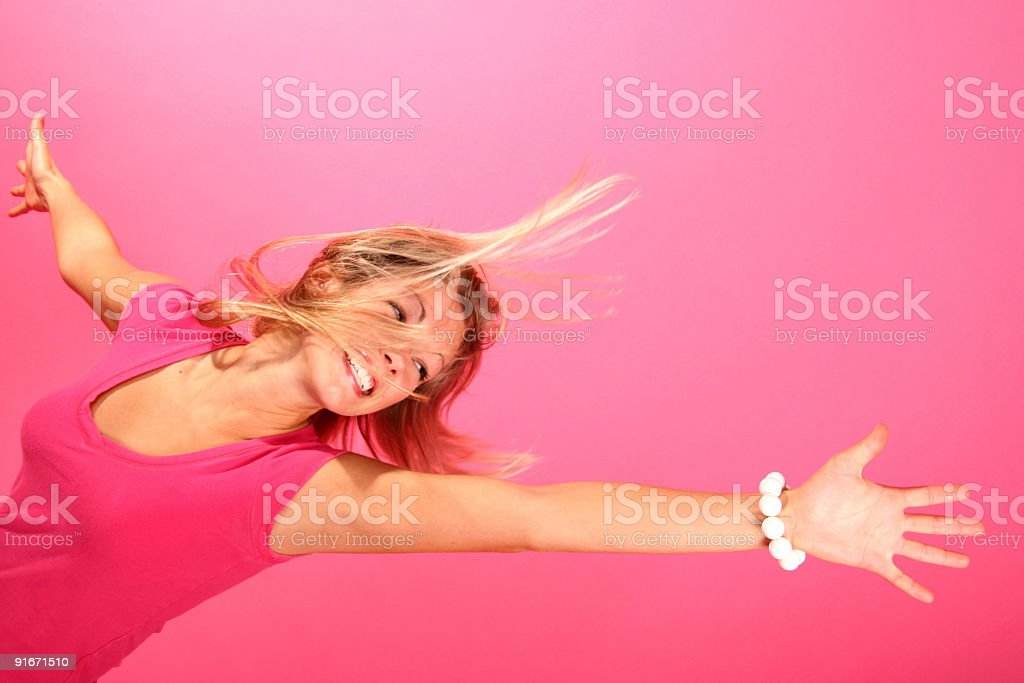 happy pink Girl II stock photo