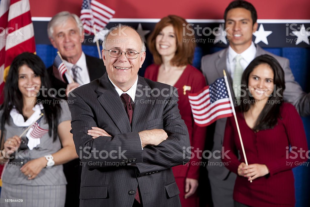 Happy Politician and Supporters stock photo