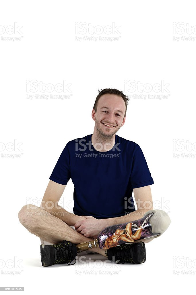 Happy positive male amputee royalty-free stock photo