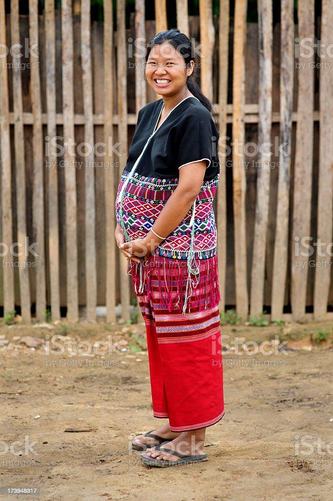 Happy Pregnant Karen Woman stock photo