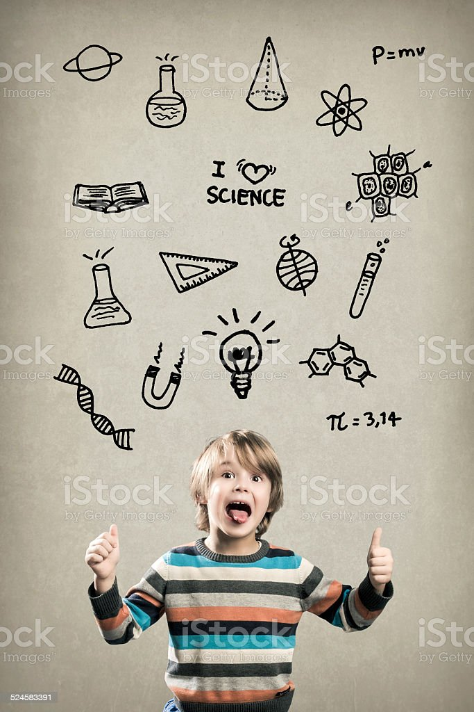 Happy Preschool Boy, with Science Doodles stock photo