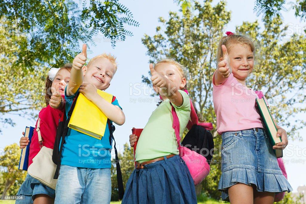 Happy preschoolers stock photo