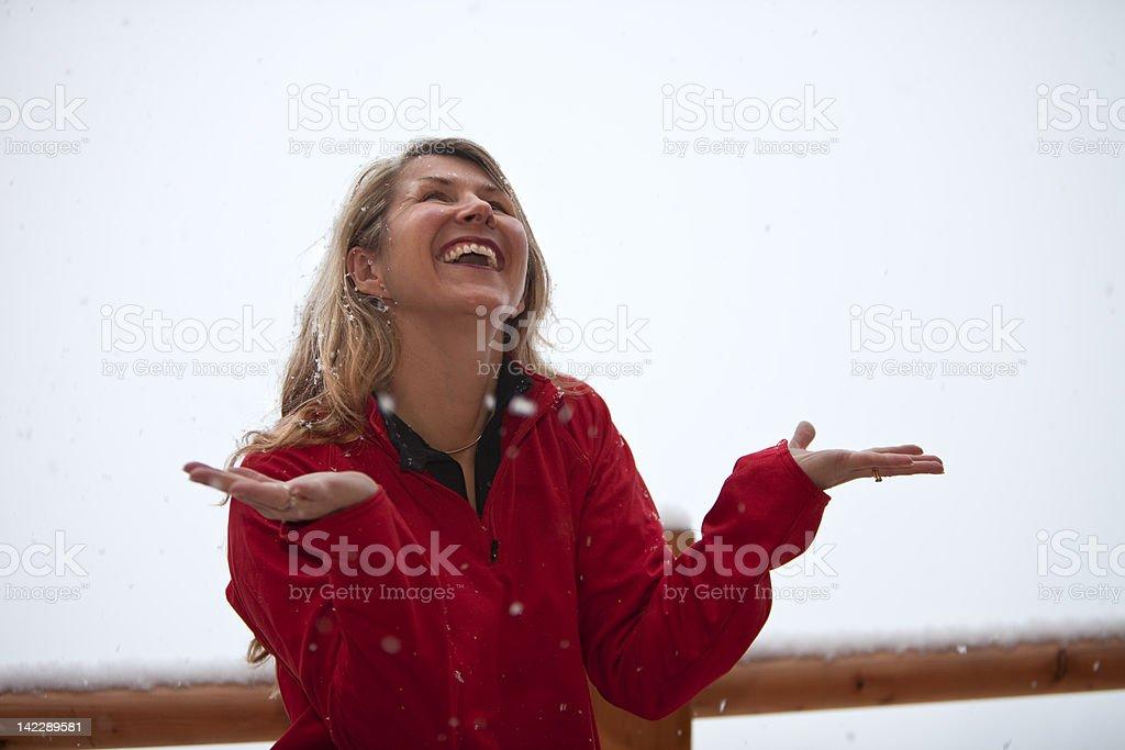 happy pretty mature woman on ski holiday royalty-free stock photo