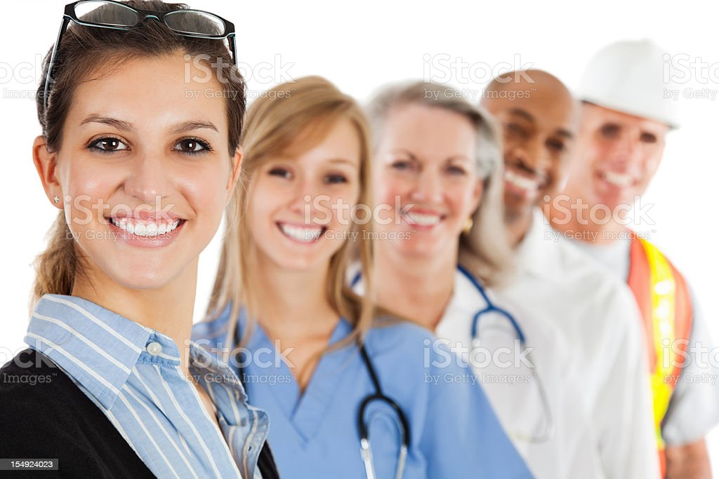 Happy Professional In Front of a group various Professionals royalty-free stock photo