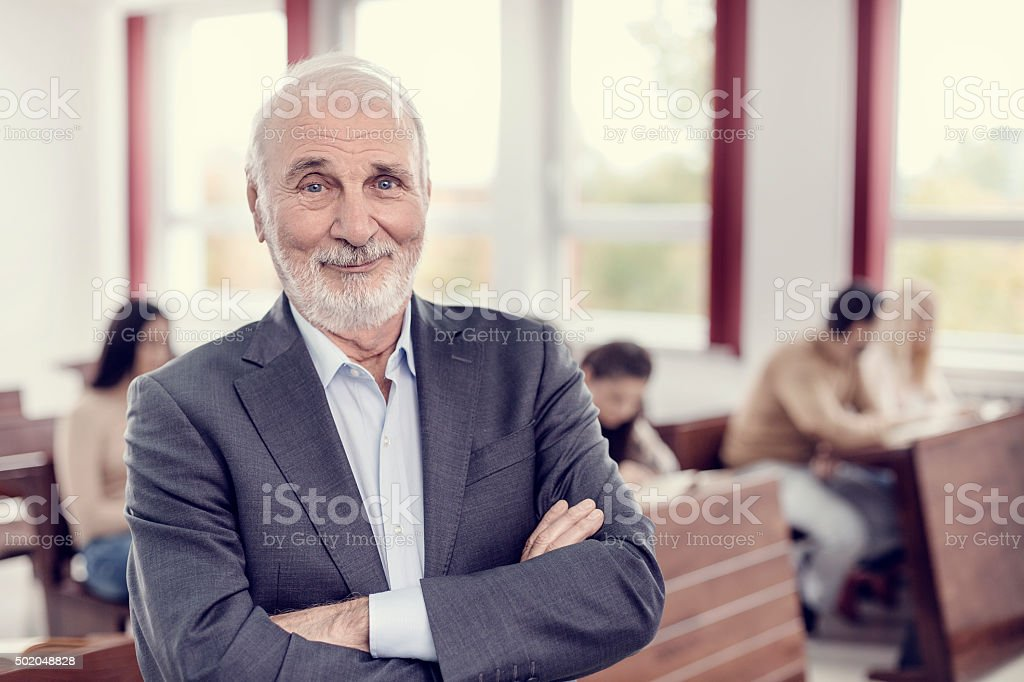 Happy professor stock photo
