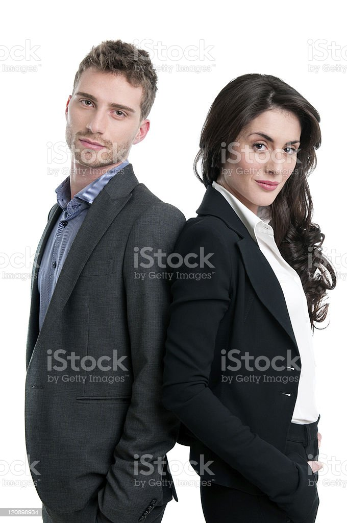 Happy proud business couple royalty-free stock photo