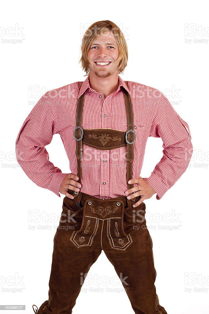 Happy proud man with oktoberfest leather trousers (lederhose) stock photo