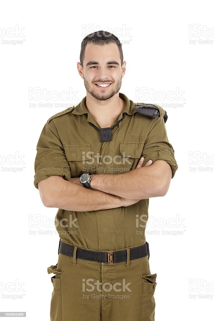Happy proud soldier. stock photo