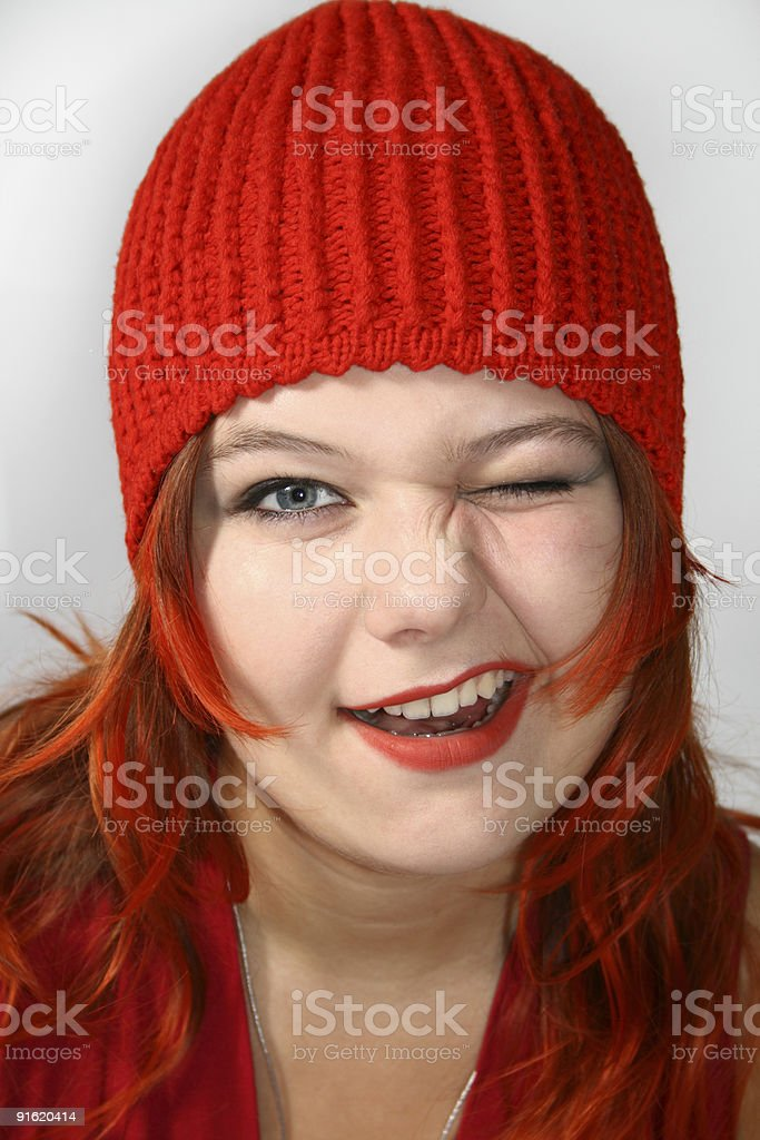 Happy red girl royalty-free stock photo