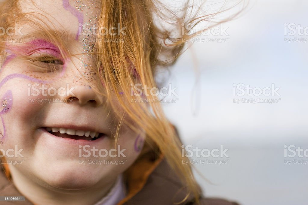 Happy redhead girl with makeup stock photo