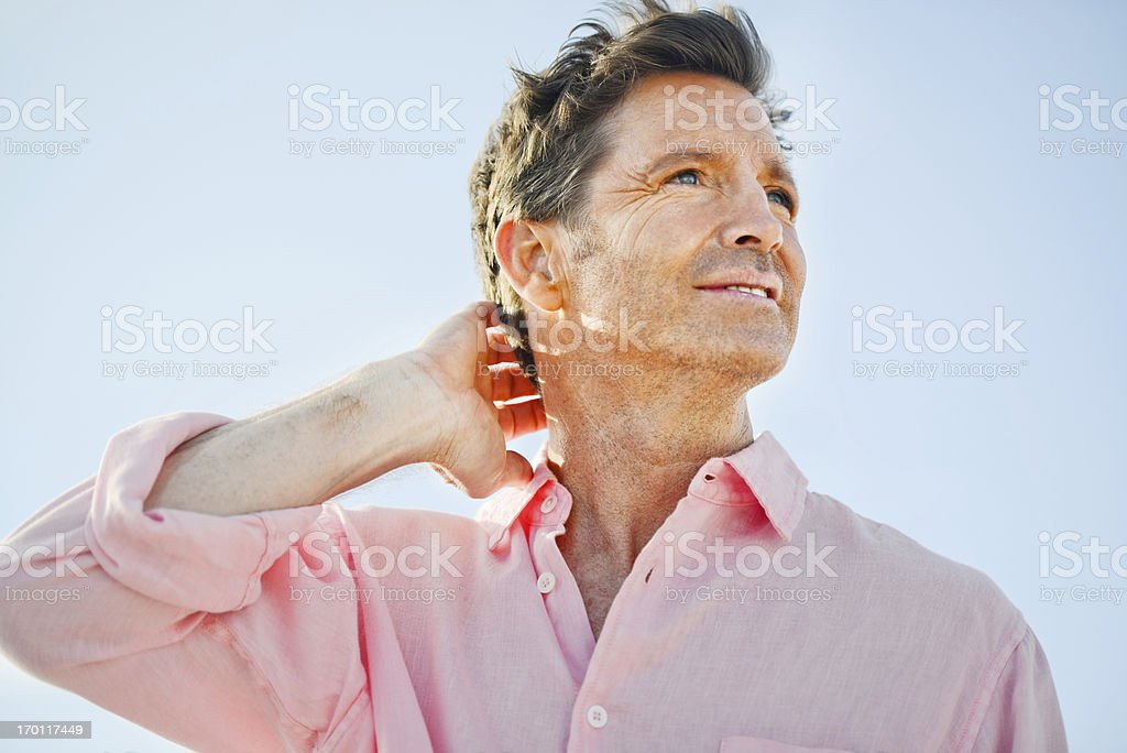 Happy Relaxed Mature Man Looking Away Smiling royalty-free stock photo