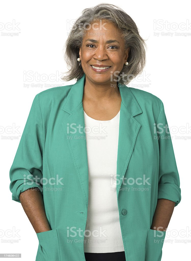 Happy Relaxed Mature Woman Portrait stock photo