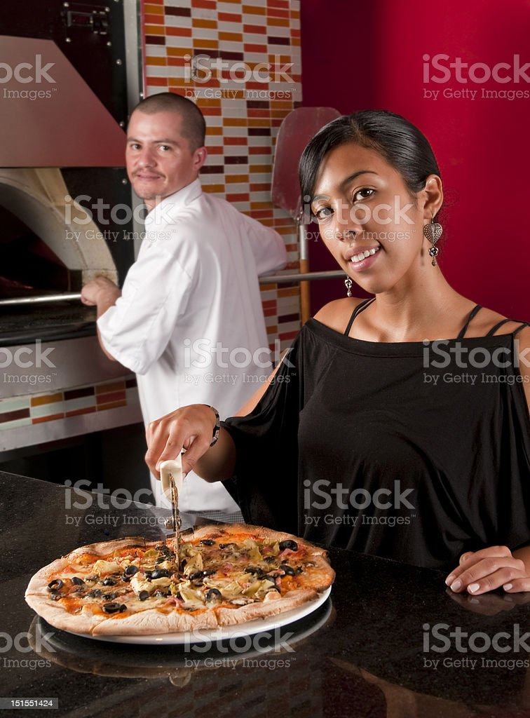 Happy restaurant workers royalty-free stock photo
