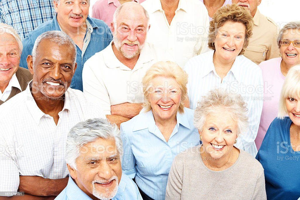 Happy retired senior people smiling stock photo