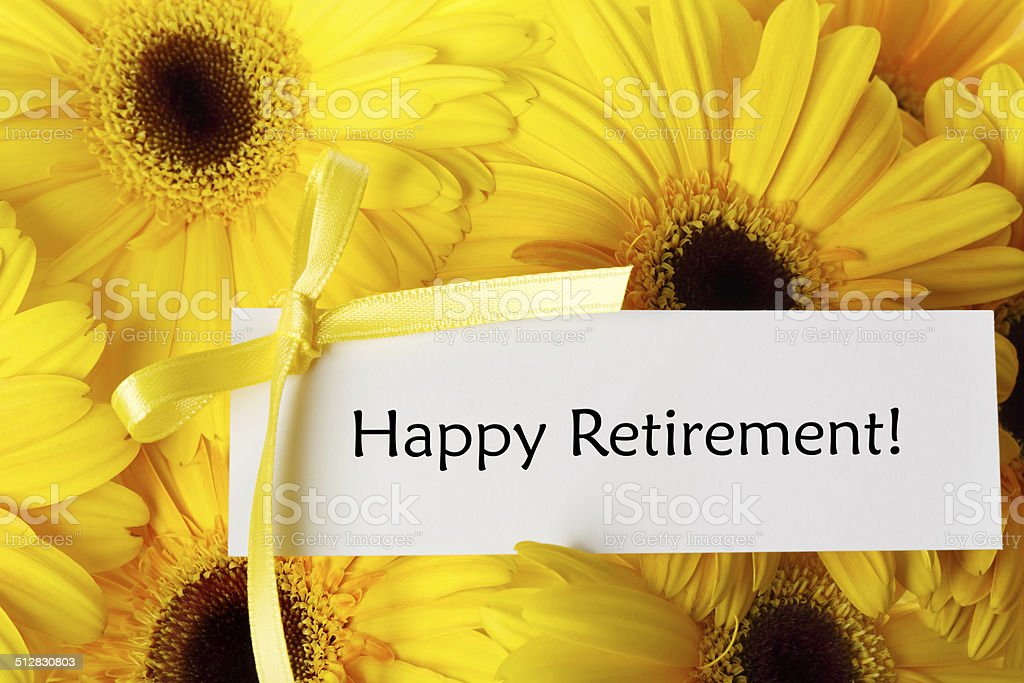Happy Retirement card with yellow gerberas stock photo