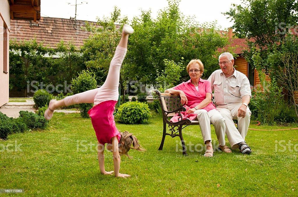 Happy retirement with grandchild royalty-free stock photo