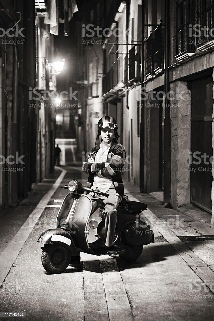 Happy retro biker. stock photo