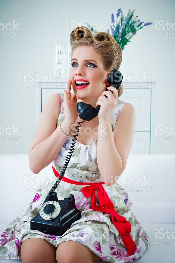 Happy retro woman on the phone royalty-free stock photo