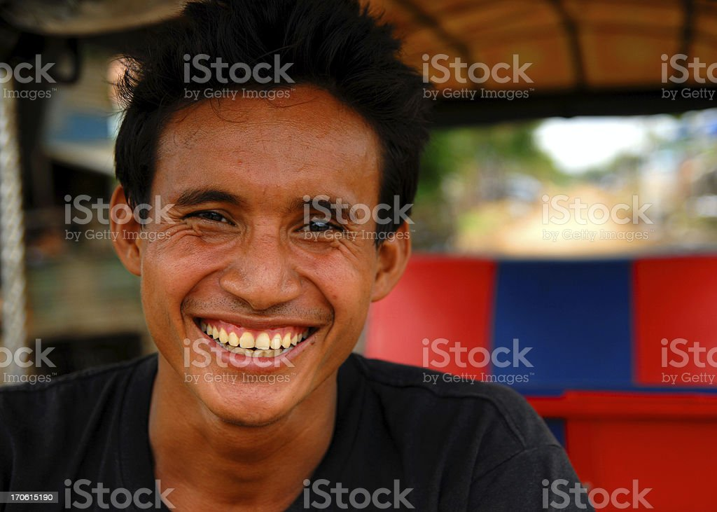 Happy Rickshaw Driver royalty-free stock photo