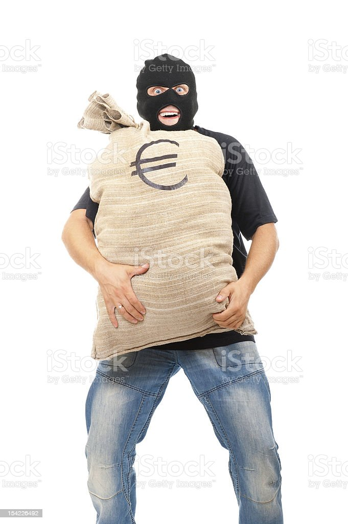 Happy robber with sack full of euro royalty-free stock photo