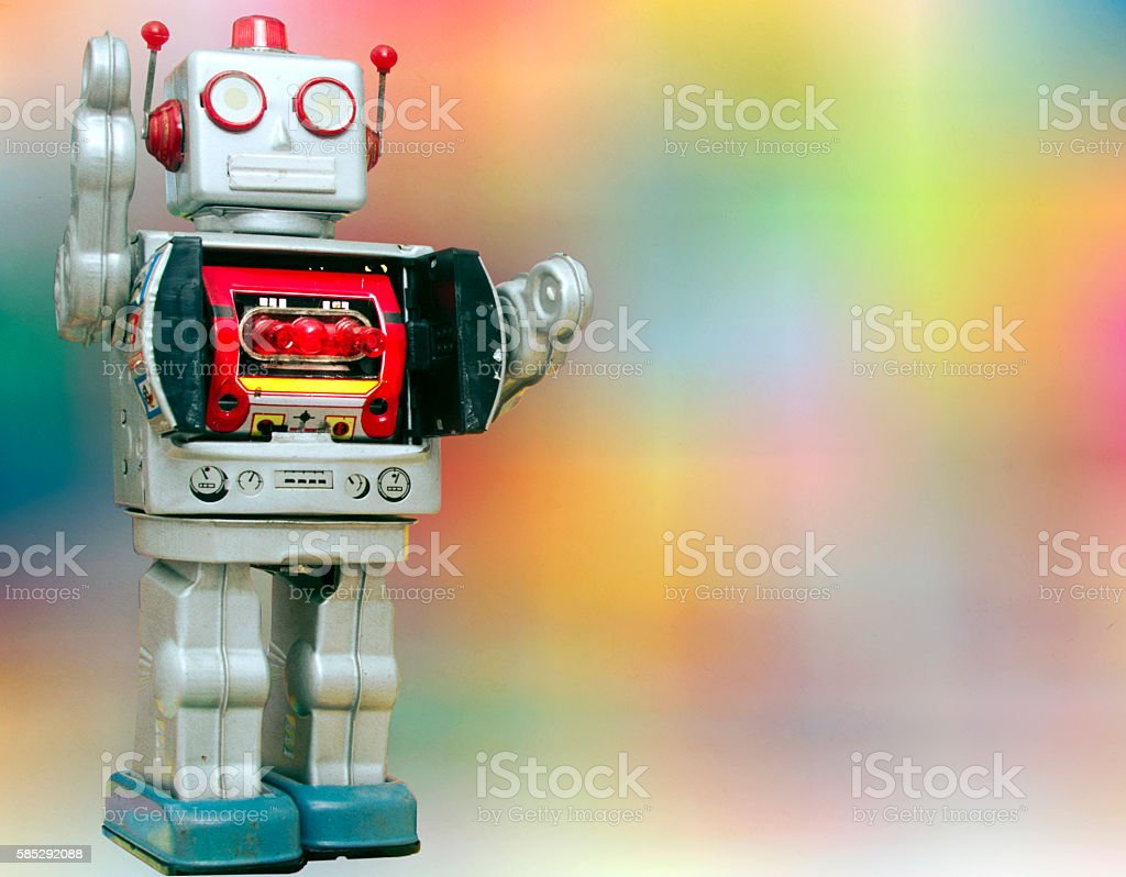 Happy robots having fun together stock photo