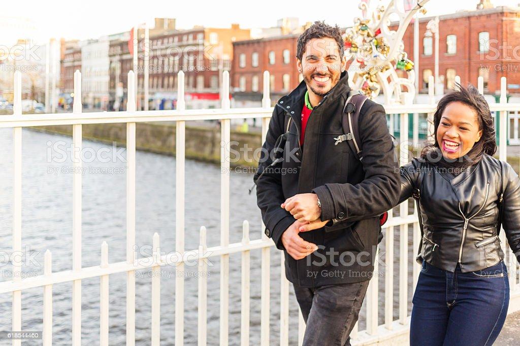 Happy Romantic Couple Enjoying Dublin Ireland Holiday stock photo