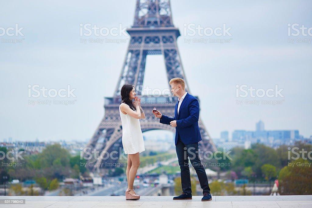 Happy romantic couple in Paris stock photo