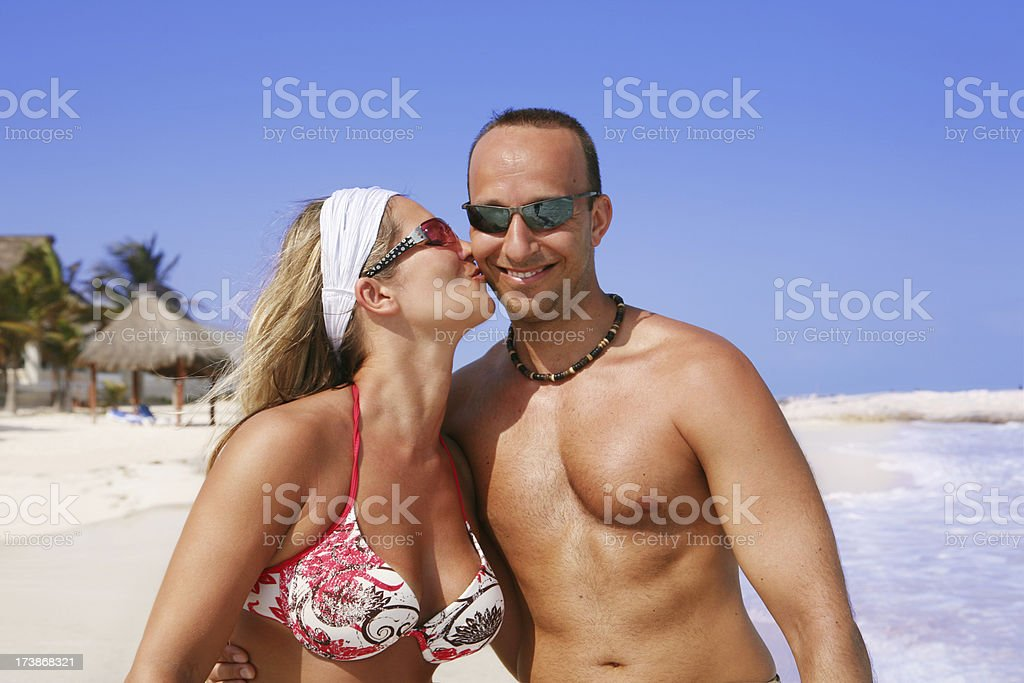 Happy, Romantic Young Couple at Beach royalty-free stock photo