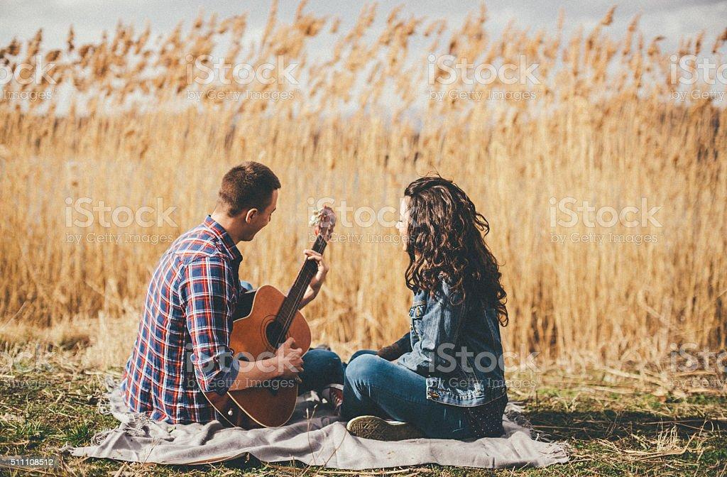 happy romantic young couple stock photo