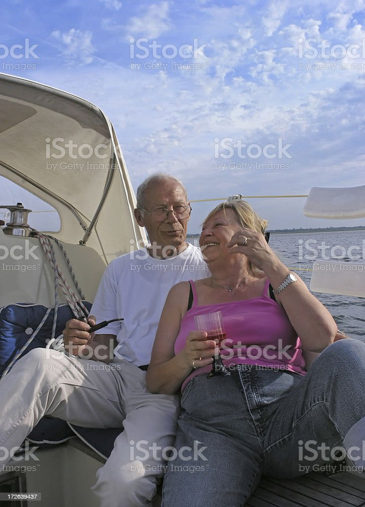 Happy sailing couple royalty-free stock photo