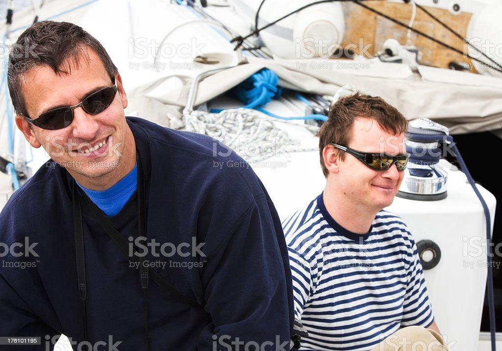 Happy sailing crew royalty-free stock photo