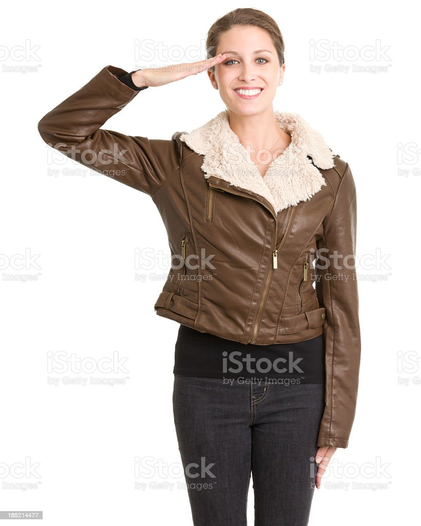 Happy Saluting Woman royalty-free stock photo