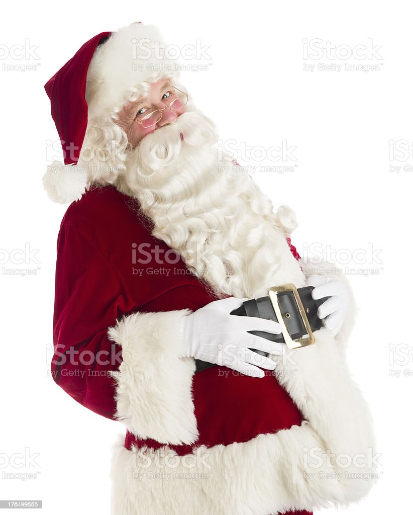 Happy Santa Claus With Hands On Stomach royalty-free stock photo