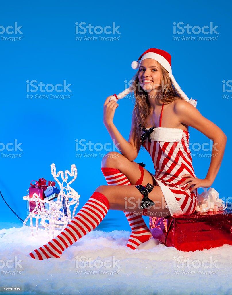 Happy Santa Helper Girl royalty-free stock photo