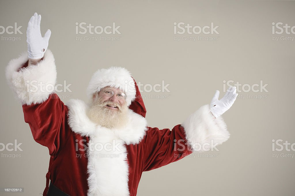 happy Santa with arms in the air royalty-free stock photo