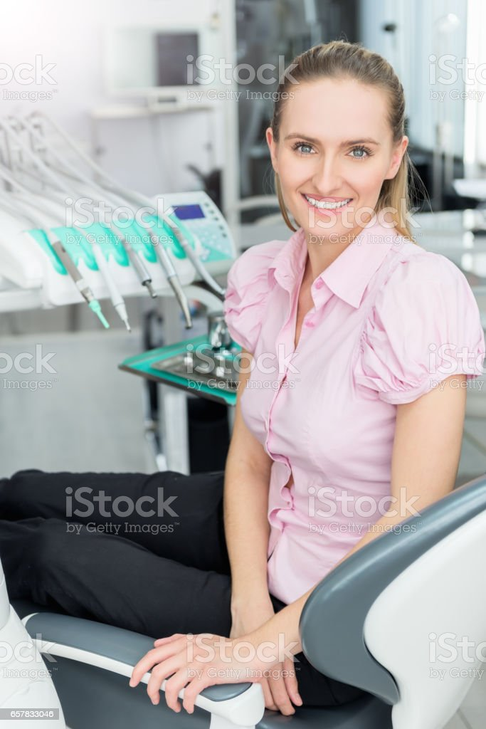 Happy & satisfied female patient stock photo