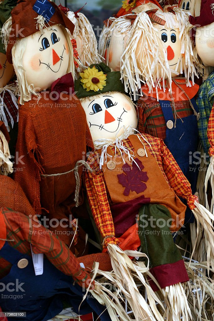 Happy scarecrows stock photo
