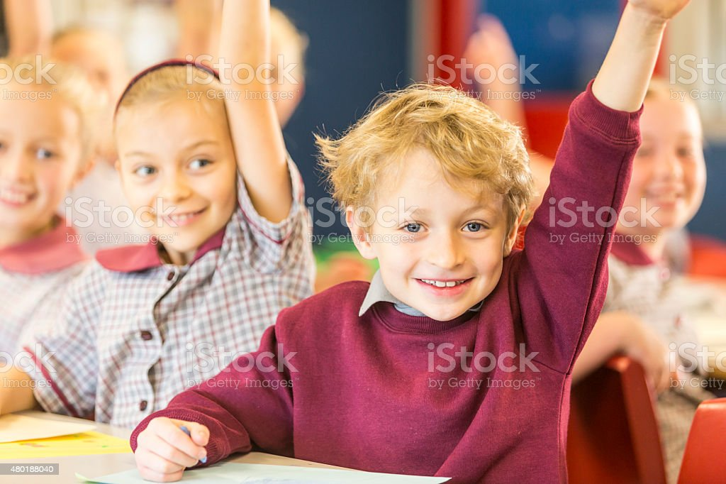 Happy School Boy Answering a Question in the Classroom stock photo