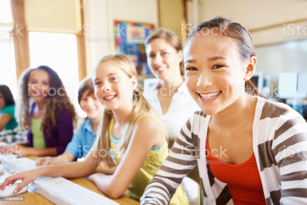 Happy school girl royalty-free stock photo