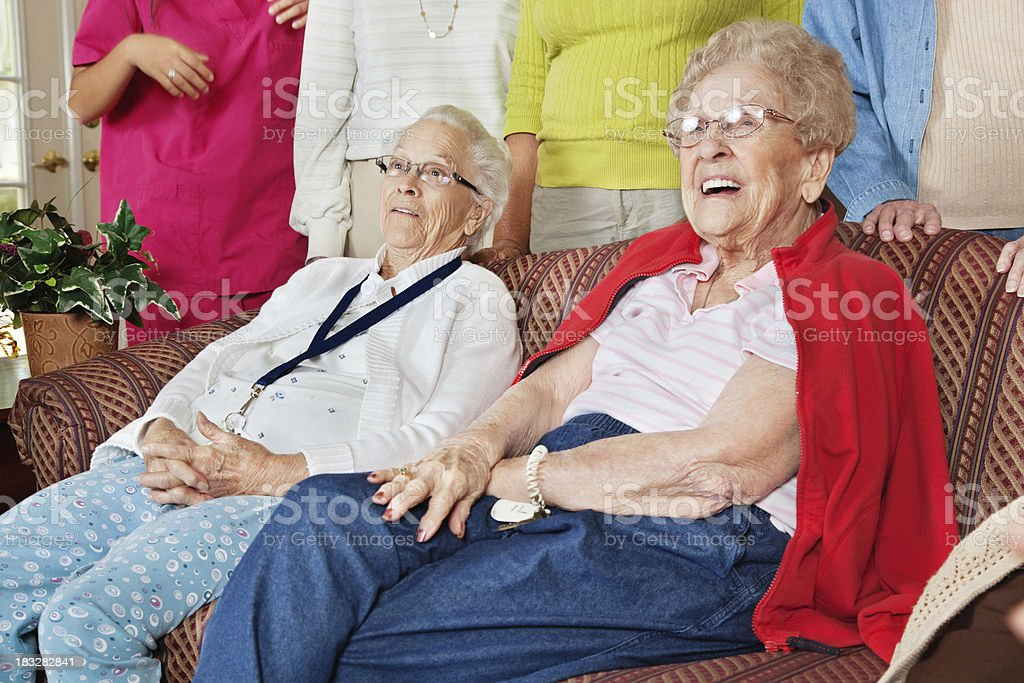Happy Senior Adult Women Looking Forward royalty-free stock photo