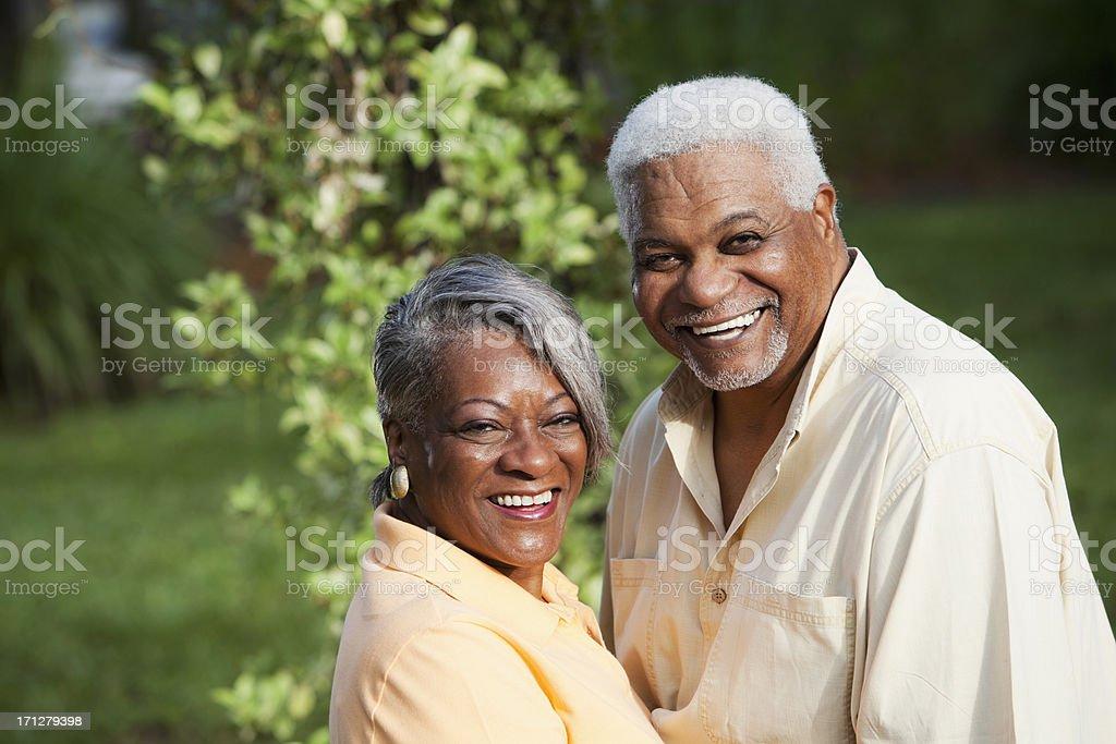 Happy senior African American couple stock photo